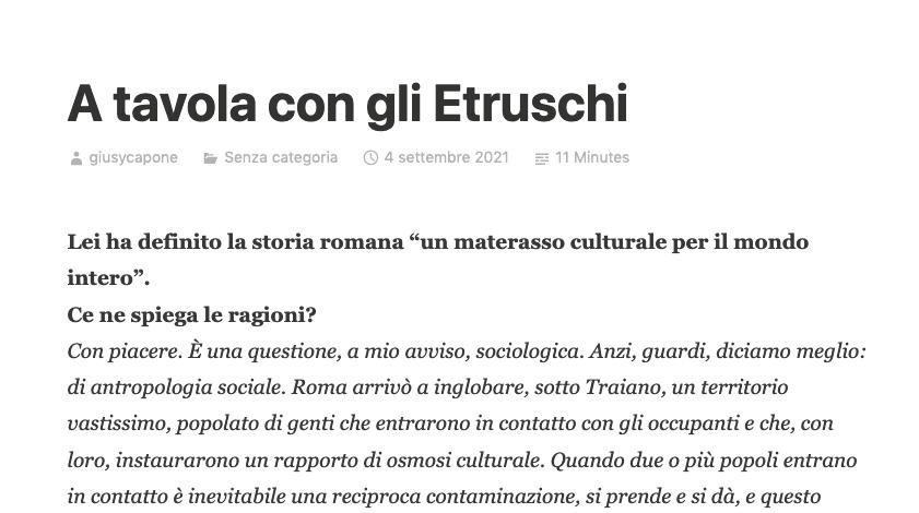 A tavola con gli Etruschi – Intervista di Giusy Capone